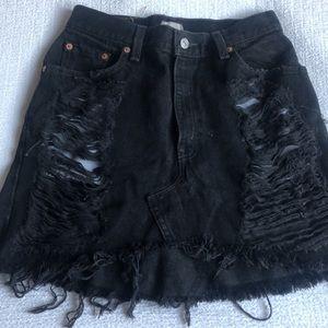 LF Black Denim Skirt